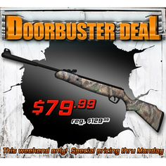 $50 off! Stoeger X20 hunting rifle 1200 fps, breakbarrel http://www.pyramydair.com/s/m/Stoeger_Arms_X20_Air_Rifle_Camo_Stock/3218?utm_source=pinterest_medium=social_campaign=airg-eblast-doorbuster-deal-stoeger-arms-x20-camo