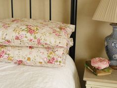 Beautiful Vintage Style Bedroom Pillow Shams Cases in Cream Floral Cotton Fabric by GracieMaking on Etsy https://www.etsy.com/listing/200206793/beautiful-vintage-style-bedroom-pillow