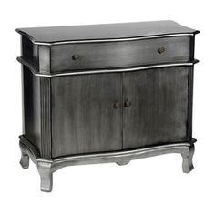 1-Drawer Brushed Silver Cabinet with 2-Doors