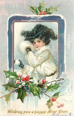 New Year~Elegant Victorian Lady Throws Snowball~White Fur~Black Feather Hat~TUCK