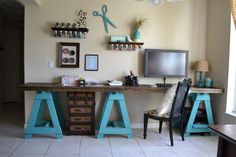 Craft+Room+-+Sawhorse+Desk