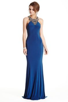 Elegant Evening Gown APL1811.  Floor Length and Sheath Shape Evening and Prom Dress has Ornate Beaded Neckline and Gemstones and Beading Embellished Semi Sheer Back. Solid Color Skirt with Softly Gathered Skirt featuring Train Detail Completes the Style with Elegance.  https://www.dresstopic.com/evening-dresses/elegant-evening-gown-apl1811