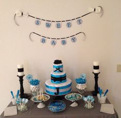 Baby shower set up Baby Shower Candy, Baby Shower Parties, Baby Shower Themes, Baby Showers, Shower Set, Shower Ideas, Shower Inspiration, Baby Shower Gender Reveal, Candy Bars