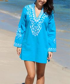 Look at this #zulilyfind! Turquoise Floral Notch Neck Tunic - Women by La Moda Clothing #zulilyfinds