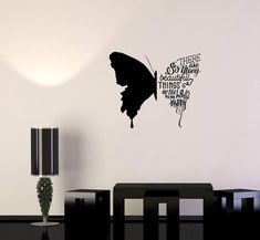 Wall pictures Wall Decal Butterfly Phrases Words Beautiful Quote Vinyl Sticker Unique Gift S Simple Wall Paintings, Creative Wall Painting, Wall Painting Decor, Creative Walls, Diy Wall Art, Bedroom Wall Designs, Wall Art Designs, Paint Designs, Wall Art Bedroom