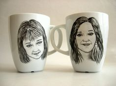 Hand painted Custom Portrait Mug Set -Black and White, Holidays Valentines Personalized gift idea, for her, for him
