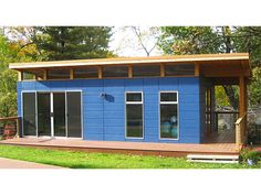 9 Sources for midcentury modern sheds - prefab, DIY kits, and plans - Retro Renovation Bungalow, Prefab Sheds, Cheap Sheds, Shed Construction, Studio Shed, Modern Shed, Modern Houses, Retro Renovation, Shed Roof