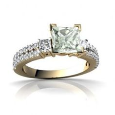 Square Genuine Green Amethyst Diamond Engagement Ring - A fashionable yet distinguishable piece with the perfect gemstone comes this 14k Yellow Gold Square Genuine Green Amethyst Diamond Engagement Ring placed in a 4 Prong setting featuring a Green Square cut center stone with 34 classy White Round & Princess cut accent stones. The Square Genuine Green Amethyst engagement ring's total gem weight is equal to 1.20 carats & the diamonds are 100% natural. #unusualengagementrings