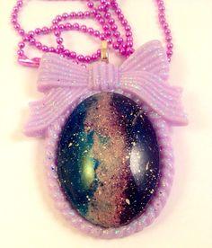 Galaxy Pastel Goth Bow Cameo Pastel Purple by DreadfulDarlingArt