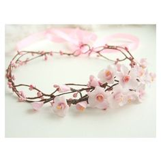 Cherry blossom crown, bridal flower crown, wedding flower crown, pink ❤ liked on Polyvore featuring accessories, hair accessories, pink flower hair accessories, flower garland, flower crown, bridal flower hair accessories and floral garland