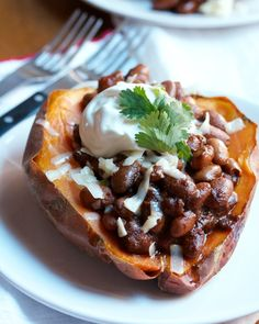 Chili-Style Beans on Roasted Sweet Potatoes with Sharp Cheddar
