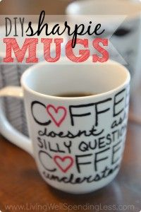 DIY Sharpie Mugs - these would make such cute gifts!
