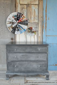 How to create a faux zinc finish with Annie Sloan Chalk Paint™ decorative paint and Soft Wax. Tutorial by Amy of the Salvage Collection blog.