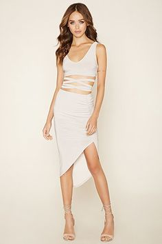 Strappy Crop Top and Skirt Set