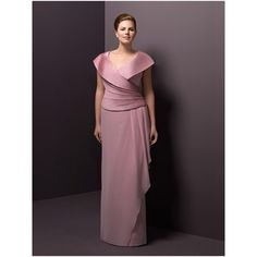 Sheath V-Neck Floor Length Chiffon Plus Size Mother Dresses/ Elegant Pleated Mother Formal Gowns