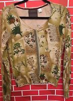 Anthropologie GUINEVERE Women's Medium Beaded HORTICULTURE Cardigan Sweater Top