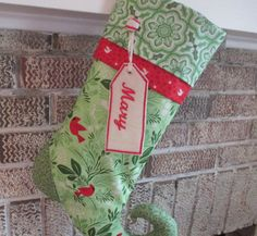 Green And Red Christmas Stocking  Stocking With by bungalowquilts