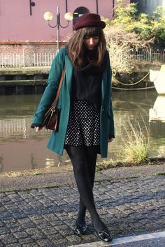oversized coat + loafers + tights
