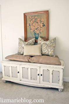 Cut legs off dresser or use tv console. Then put cushions and pillows on... slide under window. Keep shoes out of sight in the drawers! Doubles as couch