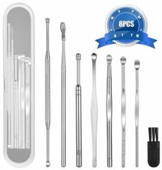 KFYM 8 Pcs Ear Pick Earwax Removal Kit, Ear Cleansing Tool Set, Ear Curette Ear Wax Remover Tool with a Cleaning Brush and Storage Box Best Ear Wax Removal, Ear Wax Removal Tool, Cleaning Your Ears, Ear Cleaning, Water Solutions, Small Case, Brush Cleaner, Tool Set, How To Remove