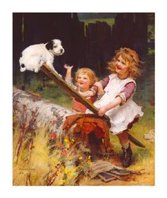 """Arthur Elsley Hand Numbered Limited Edition Print on Paper: """"The See-Saw (Happy Days)"""""""