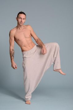 Harem Trousers, Linen Trousers, Linen Tunic, Harem Pants Pattern, Jacket Pattern, Mens Linen Outfits, Mens Tunic, Wide Leg Linen Pants, Natural Linen