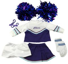 Now your doll can cheer along with you!  This cheerleader set includes a top with long sleeves which fastens at the back with a Velcro strip, a skirt with  three pleats and simply pulls on with an elastic waist, white sports pants, socks, headband and two pom poms. Ropa American Girl, American Girl Doll Sets, American Girl Clothes, Girl Doll Clothes, Girl Dolls, Baby Dolls, Cheer Outfits, Cheerleading Outfits, Girl Outfits