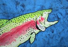 """Rainbow Trout #442 (ARTIST TRADING CARDS) 2.5"""" x 3.5"""" by Mike Kraus - aceo atc fishing summer fisherman rods reels sports catch release fun"""