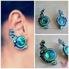 Pendientes soutache Jewelry Tools, Diy Jewelry, Jewelery, Jewelry Making, Soutache Necklace, Beaded Earrings, Handmade Beaded Jewelry, Handmade Necklaces, Soutache Tutorial
