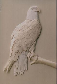 Sculptured eagle by Dave Wood Ceramic Sculpture Figurative, Sculpture Clay, Figurative Art, Plaster Crafts, Plaster Art, Mural Wall Art, Diy Wall Art, Wood Carving Art, Paper Artwork