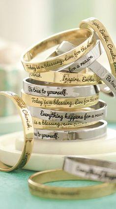 Inspirational sentiment bangles  http://rstyle.me/n/dkq52nyg6