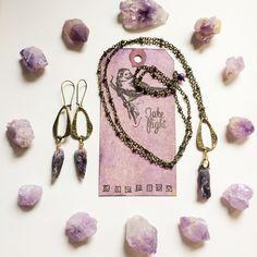 Antiqued Brass Rough Spiked Point Deep Purple Amethyst Long Necklace & Earring Set with Fluorite Dangle! TAKE FLIGHT by TakeFlightStudioWA on Etsy