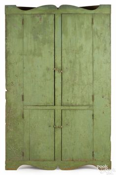 New England Painted Pine Corner Cupboard, Early 19th C., Retaining An Old  Apple