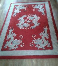Chinese Red Dragon Rug Large Oriental