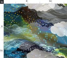 The Sea and the Sky - large - Spoonflower Double Gauze Fabric, Cotton Twill Fabric, Fleece Fabric, Satin Fabric, Cotton Canvas, Catching Fireflies, April Showers, Fabric Swatches, Burp Cloths