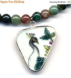 SALE 15% off Porcelain Peacock Necklace Old English by Annaart72