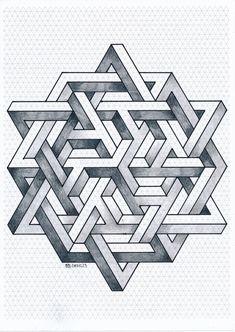 Impossible on Behance Geometric Shapes Art, Geometric Quilt, Geometric Mandala, Geometric Patterns, Escher Kunst, Escher Art, Graph Paper Drawings, Graph Paper Art, Illusion Drawings