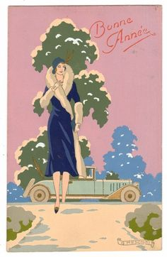 POSTCARD ART DECO WOMAN & AUTO SIGNED MESCHINI HANDPAINTED NEW YEAR