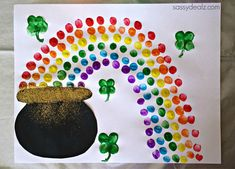 Fingerprint Rainbow Pot of Gold Craft For St. Patrick's Day – Sassy Dealz Fingerprint Rainbow Pot of Gold Craft For St. March Crafts, St Patrick's Day Crafts, Valentine Day Crafts, Spring Crafts, Holiday Crafts, Arts And Crafts, Holiday Decor, Saint Patricks Day Art, St. Patricks Day