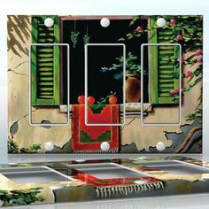 DIY Do It Yourself Home Decor - Easy to apply wall plate wraps | Spanish Hacienda  Tomato at the window  wallplate skin sticker for 3 Gang Decora LightSwitch | On SALE now only $5.95