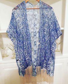 Royal Blue & Fringed Kimono