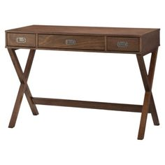 Love this campaign style desk. Would be perfect in an entryway or bedroom office area!