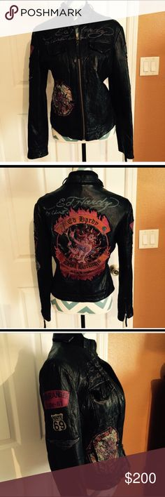 New Ed Hardy leather jacket Black leather zipper jacket with  two side pockets upfront and two pockets inside! Ed Hardy Jackets & Coats