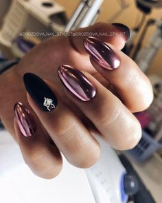 66 Hot Trend Black Almond Nails Design in 2019 – chic better Winter Nail Designs, Short Nail Designs, Cool Nail Designs, Stiletto Nails, Coffin Nails, Acrylic Nails, Winter Nails, Spring Nails, Black Almond Nails