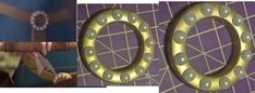 belt buckle done -12 perls possisioned like in a clock