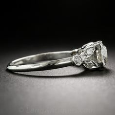 1.10 Carat GIA: H-SI1 Art Deco Diamond Engagement Ring - 10-1-6823 - Lang Antiques