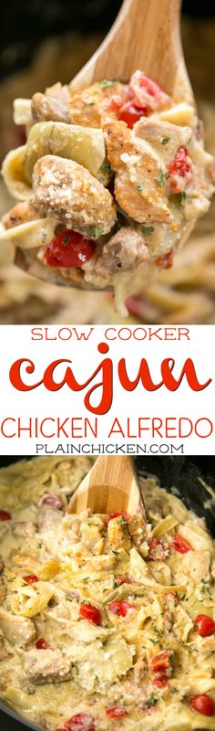 Slow Cooker Cajun Chicken Alfredo - everything cooks in the slow cooker, even the pasta! This is AMAZING!!! Chicken thighs, artichoke hearts, alfredo sauce, chicken broth, egg noodles, parmesan cheese and tomatoes. Everyone cleaned their plates! Definitely going into the rotation!