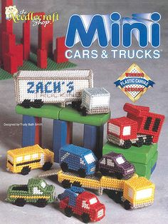 The Needlecraft Shop 'Mini Cars Trucks' Plastic Canvas Pattern Booklet Rare and hard to find. Designs by Trudy Bath Smith. Plastic Canvas Books, Plastic Canvas Stitches, Plastic Canvas Crafts, Plastic Canvas Patterns, St Dupont, Mini Car, Monogram Coasters, Miniature Cars, Canvas Designs