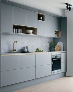 Cocina gris suave con detalles en latón y madera . Weiche graue Küche mit Akzenten aus Messing und Holz Cocina gris suave con detalles en latón y madera. Home Decor Kitchen, Kitchen Furniture, Kitchen Ideas, Kitchen Layout, Diy Kitchen, Kitchen Colors, Kitchen Trends, Kitchen Hacks, One Wall Kitchen