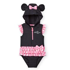364ccb6a18 #disney #baby girls 1 piece black/pink minnie mouse hooded tutu rashguard  swimsuit from $25.38